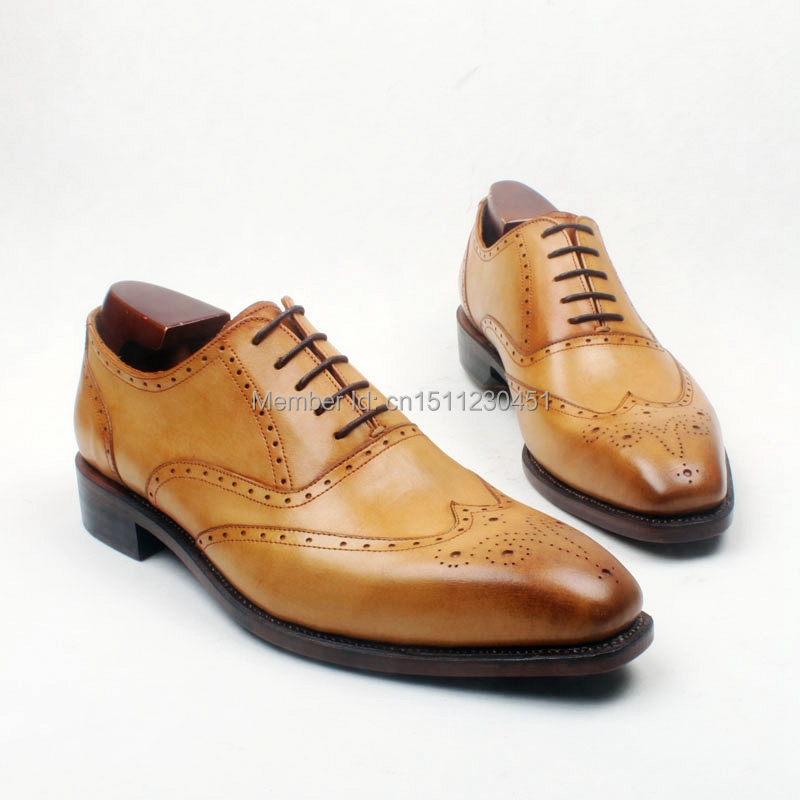 obbilly Handmade Calf Genuine Leather Upper/outsole/Insole Brown Color Goodyear welted Craft Brogues Square toe Shoe No.ox650 obbilly handmade genuine leather upper outsole insole navy color goodyear craft square toe men s classic shoe no ox633