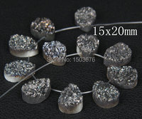 11pcs Black Titanium Drusy Stone Top Drilled Flat Teardrop Pendant Beads.Druzy Quartz Cabochons Nugget, 13x18mm, different sizes