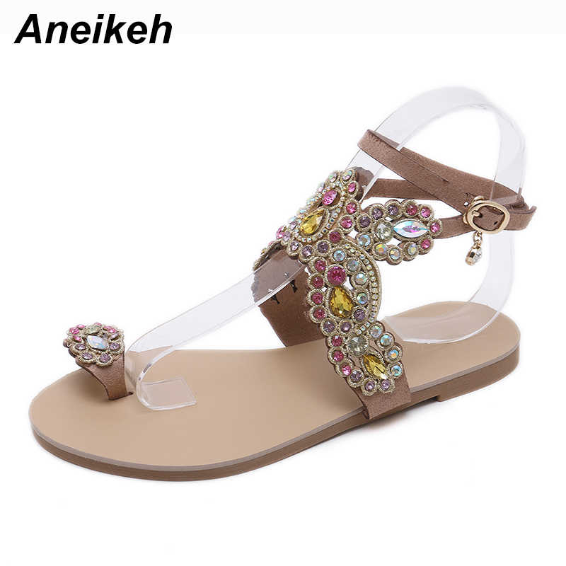 711b61ccf ... Aneikeh Summer Bling Bling Colorful Rhinestone Butterfly Woman Sandals  Crystal Flats Flip Flops Female Single Shoes ...