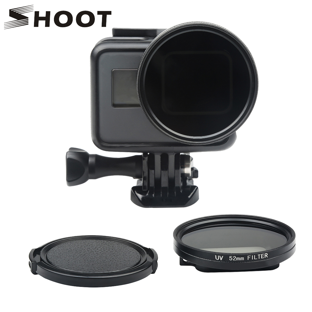SHOOT Professional 52mm UV Filter for GoPro Hero 7 5 6 Black Action Camera with Lens Cover Mount For Go Pro 7 6 Camera Accessory 45m waterproof case mount protective housing cover for gopro hero 5 black edition