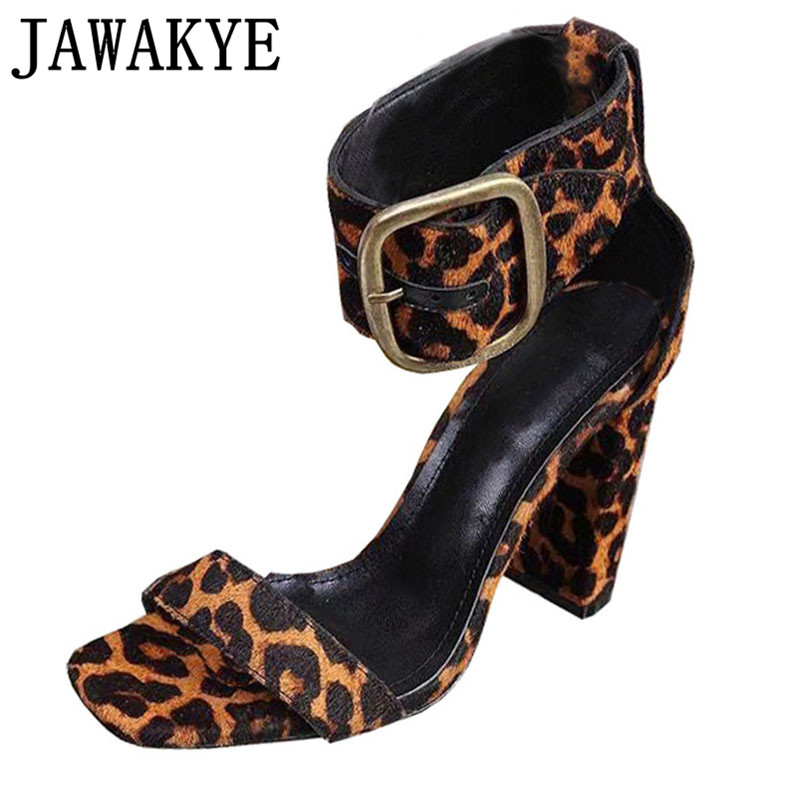 Summer leopard horsehair sandals women sexy big metal square buckle decor gladitor sandals ankle adjustable shoes