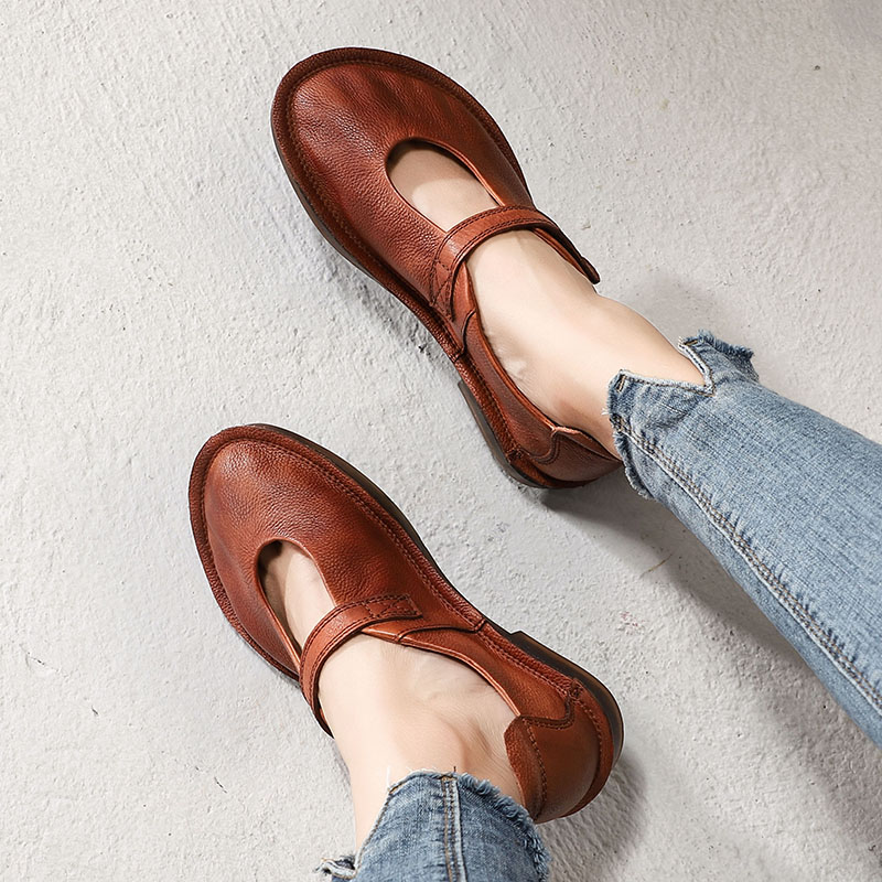 2019 New Spring Shoes Women Flats Genuine Leather Round Toes Mary Jane Ladies  Flat Shoes Comfortable Soft Female Shoes Brown2019 New Spring Shoes Women Flats Genuine Leather Round Toes Mary Jane Ladies  Flat Shoes Comfortable Soft Female Shoes Brown
