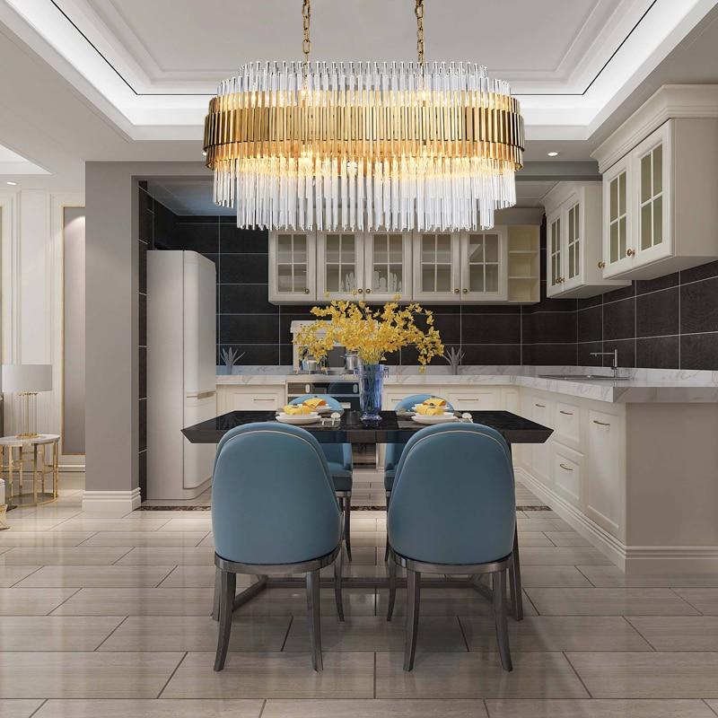 Modern Crystal Chandelier Rectangle Design Gold Chandeliers 1