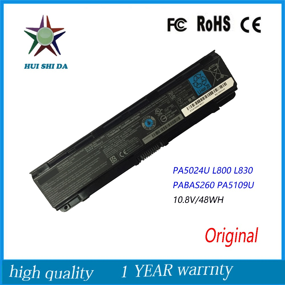 10 8V 48Wh New Original Laptop Battery for Toshiba Satellite C855D C55 C50 PA5024U L800 L830