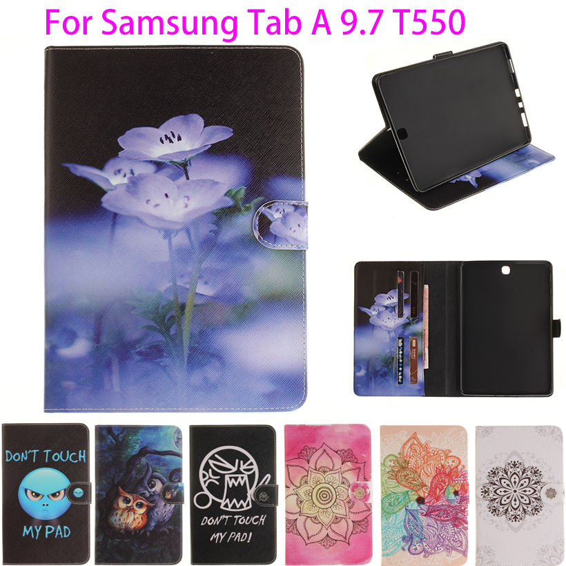 Fashion Painted Flip PU Leather For Samsung Galaxy Tab A 9.7 Case For Samsung Galaxy Tab A T550 T551 T555 Smart Case Cover Funda