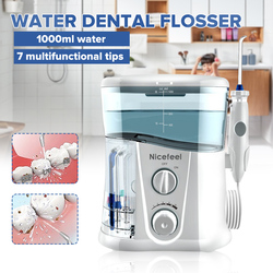 Nicefeel 1000ml Electric Oral Irrigator Teeth Cleaner Care Dental Flosser SPA Water Flosser + 7 Pcs Jet Tips