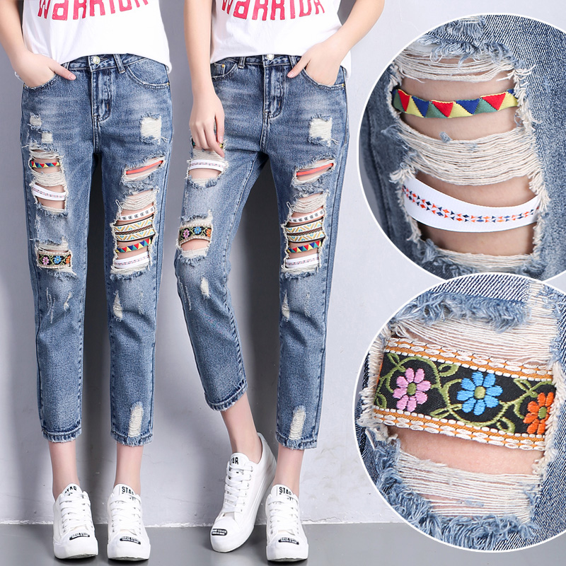 ФОТО Women Bohemian Jeans Capris Ripped Holes Ladies Retro Denim Pants Distressed Womens Ethnic Harem Jeans With Ribbons