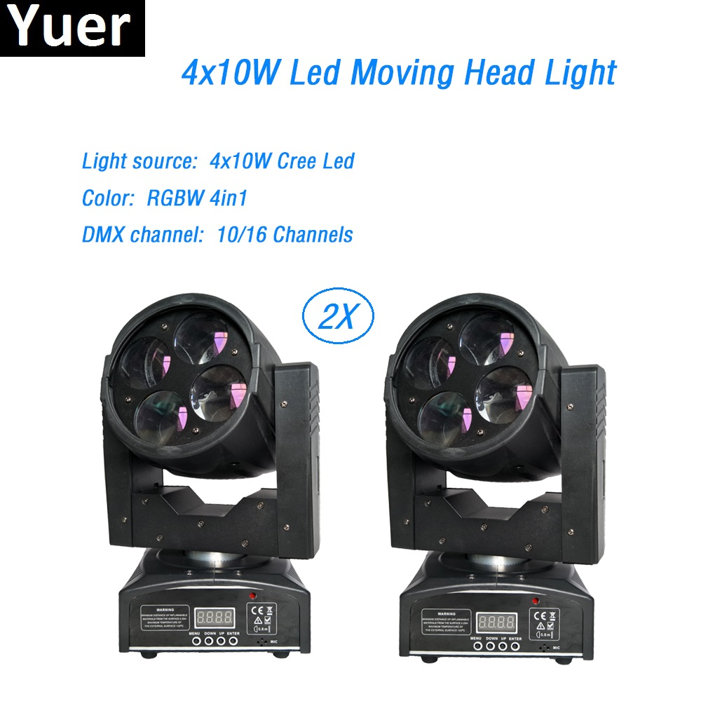 Free Shipping 2Pcs/Lot LED Mini beam Moving Head Light Vivid 4x10W Super lamp For Professional Stage Lighting