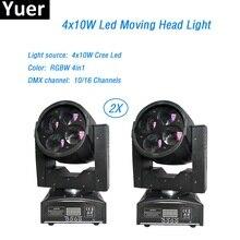 Free Shipping 2Pcs/Lot LED Mini beam Moving Head Light Vivid 4x10W Super lamp For Professional Stage Lighting