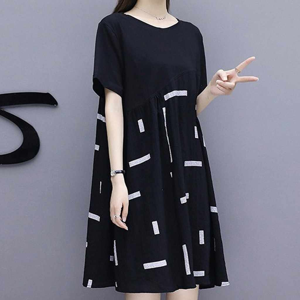 Fashion 2019 Summer Dress Plus Size Women Boho Short Sleeve Knee Length Dress Casual Women Loose Splicing Dress Vestidos