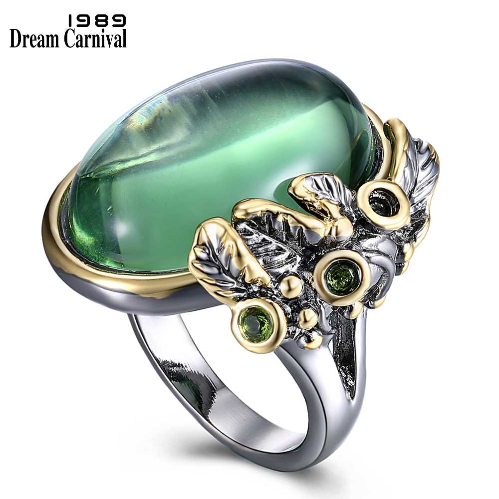 DreamCarnival 1989 New Elegant Big Ring for Women Gorgeous Oval Shape Green Zircon Bezel Holiday Jewelry Party Must Have WA11549