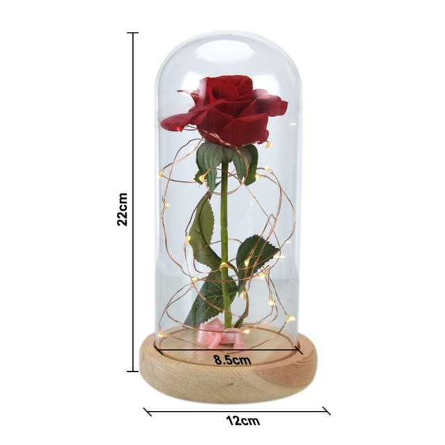 Passion Red Rose Light Glass