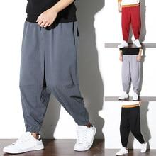 Retro Chinese Style Casual Linen Pants Men Baggy Harem Hiphop Wide Legs  Cross-pants Trousers 5XL Plus Size Loose Fitness Joggers 5326381450d6