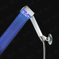 Bathroom Shower Head 3 Mode Adjustable Copper Rain Shower Head Color Changing Shower Head QY1001