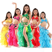 BellyDance Costume For Kids Oriental Dance Costume Set Beaded Bra Belt Dance Belly Tutu Chiffon Skirt