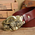 Cowboy Belt Brass Bull Buckle Mens Belts Luxury Genuine Leather Men Belt Vintage Ceinture Homme Cinturones Male Strap MBT0389