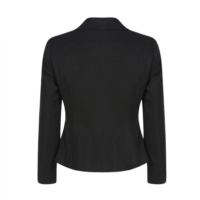 Black long sleeve zip decoration notched collar cropped blazers for women ladies formal OL peplum hem coats outwear for work 5