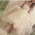Fashion Ivory Strapless Off the Shoulder Shoulder Beaded Flowers Lace Short Front Long Back Prom Dresses