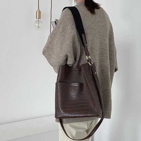 Jacaré do vintage Balde bolsa de Ombro das mulheres bolsas e bolsas de Couro PU Composto Sacos de Moda de Crocodilo das Mulheres das Mulheres Totes 2 pcs