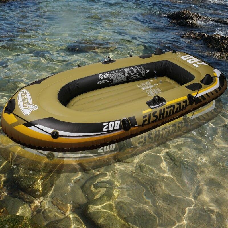 De pêche 2 Personne bateau de pêche 218*110*36 cm PVC gonflable bateau de pêche bateau kayak paddle pompe à mener sac à dos canot radeau A06001