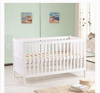 high quality white baby bed solid wood baby crib lengthen large space baby playpen crib