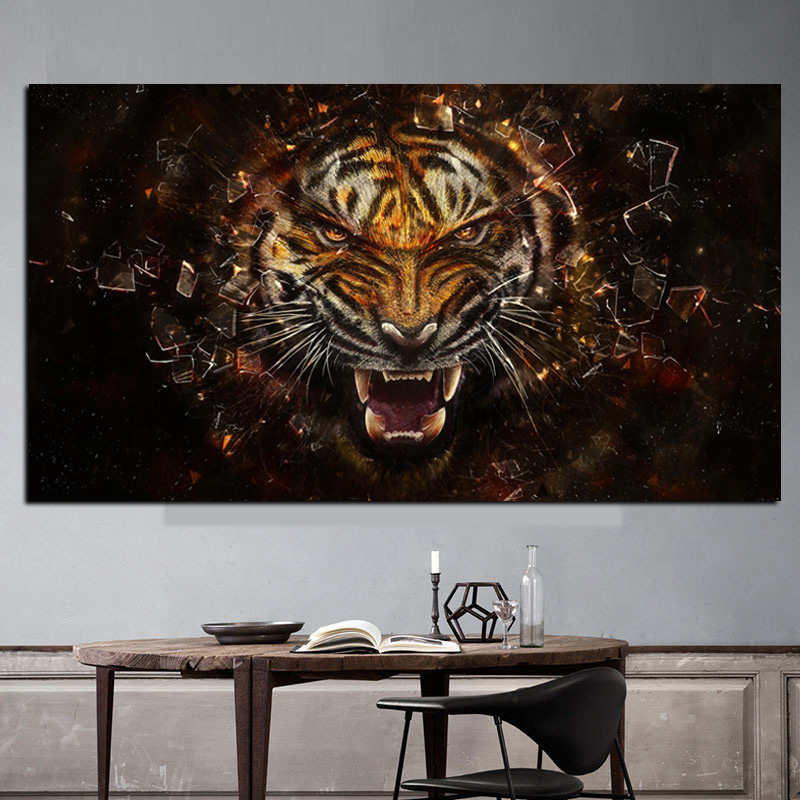 Pop Art HD Print 3D Angle Tiger Animals Oil Painting on Canvas Modern Wall Picture for Living Room Poster Sofa Cudros Decoration