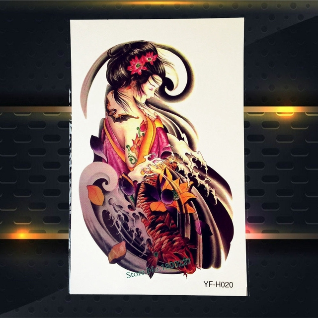 Colorful Body Art Painting Temporary Tattoo Beauty Ancient Women Japanese Geisha Design Waterproof Flash Tattoo Stickers PYFH020