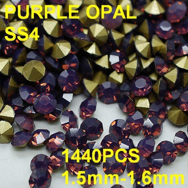 SS4 1440pcs/bag 1.5mm-1.6mm New Design Round Opall Rhinestones Purple Colors Nail Art Diy Nail Decoration Wholesale for Women