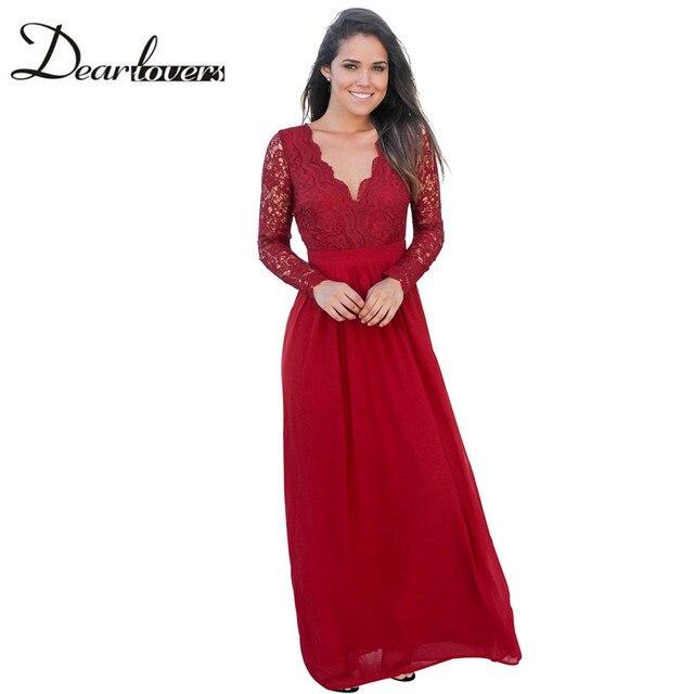 86a3e3f1848 Cher Amoureux 2017 Nouveau Sexy Femmes Dentelle Robes Rouge Ouvert retour À  Manches Longues Crochet Maxi