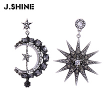 JShine Asymmetric Moon Star Earrings Vintage Crystal Woman Big Statement Drop Earrings Korean Fashion Luxury Jewelry недорого