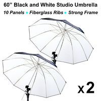 2 x 60inch; Black/White Reflective Photo Studio Umbrella 10 Panels Fiberglass rubber umbrella