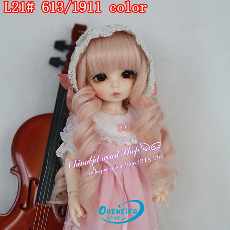 OUENEIFS free shipping size 6-7 inch 1/6 high-temperature wig girl long curly hair bjd sd doll Wig in beauty with bangs new 1 3 1 4 1 6 bjd wig curly short hair curly fringe doll diy high temperature wire for bjd sd dollfie