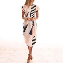 Платье с геометрическим принтом, лето 2018, женский пляжный сарафан, рукав