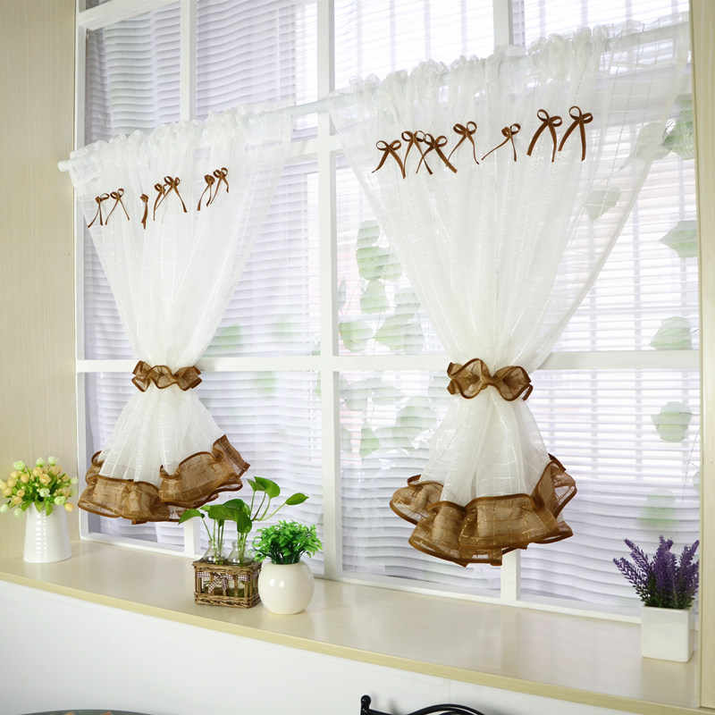 Short Curtains For Kitchen Tulle For Windows Roman Curtain for Living Room Bedroom Drapes Door Blinds Window Treatments 2pcs