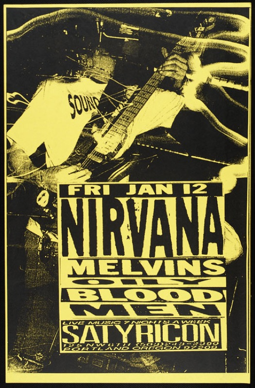 Vintage Nirvana Concert Posters Playing Guitar Retro ...