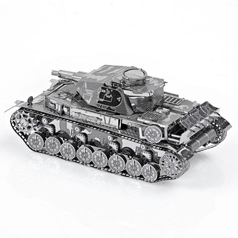 Немецкая модель IV танка, 3D лазерная вырезка, головоломка «сделай сам», металлическая модель, нано-пазл, Детские Развивающие головоломки, игр...