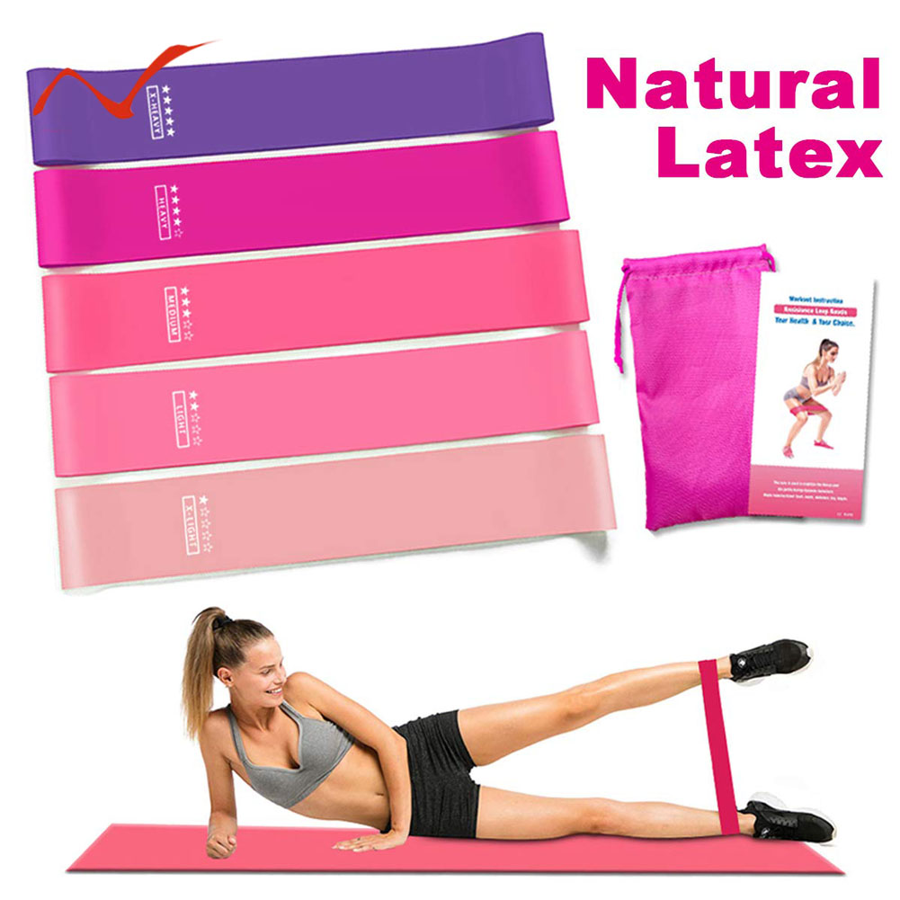 Resistance Exercise Heavy Duty Bands Tube Home Gym Fitness Natural Latex 4 Pack