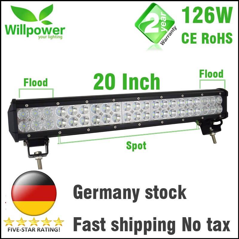 Impuesto libre 12 V doble filas led luz de conducción IP67 impermeable luz de trabajo 126 W 20 pulgadas offroad coche led barra ligera 4x4