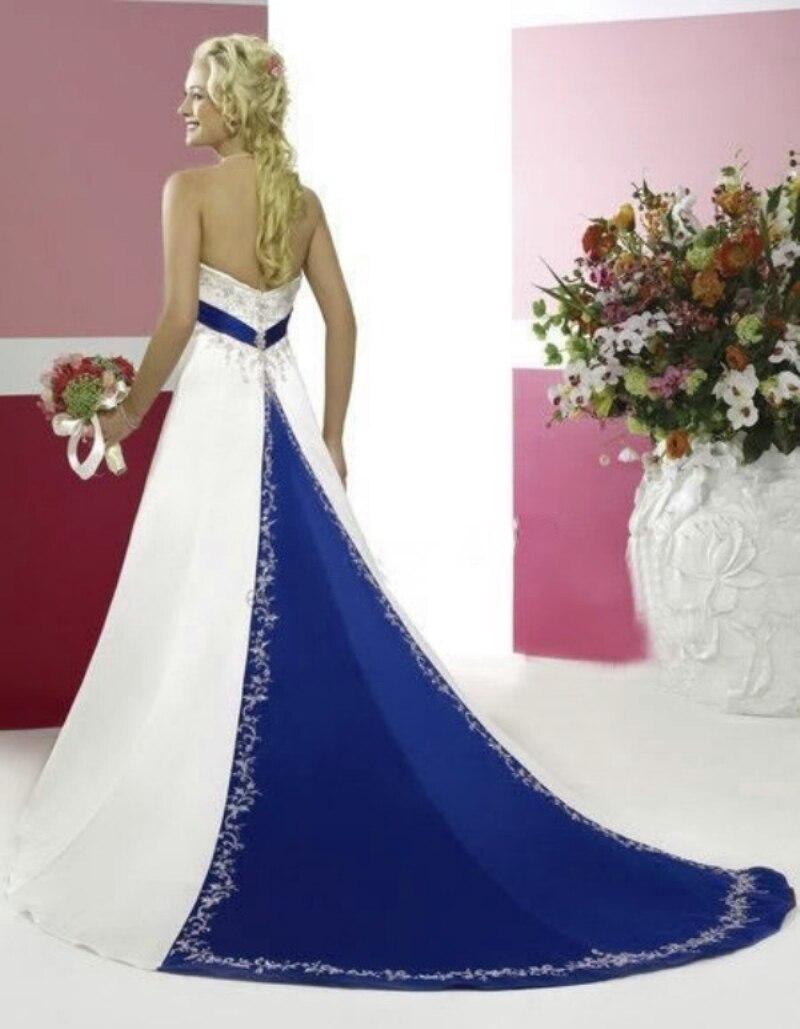 Taille personnalisée élégante robe de mariée sans bretelles broderie Satin robe de mariée laçage grande taille bleu Royal et blanc robes de mariée