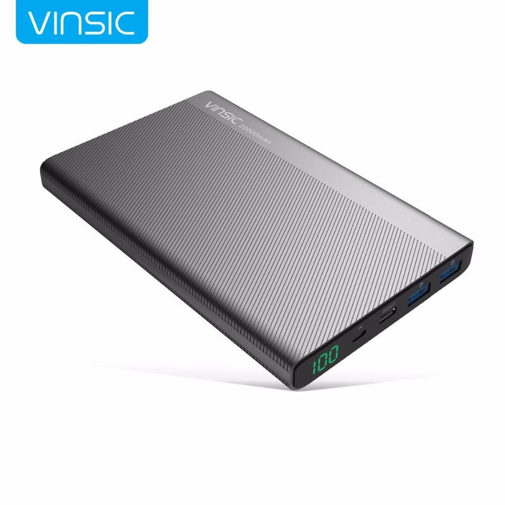 Vinsic 5 В/3A 20000 мАч Мощность банк Тип-C Dual USB внешний Батарея Зарядное устройство для iPhone X xiaomi Mi8 huawei samsung S9 htc