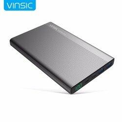 Vinsic 5 v/3a 20000 mah power bank tipo-c duplo usb carregador de bateria externa para iphone x xiaomi mi8 huawei samsung s9 htc
