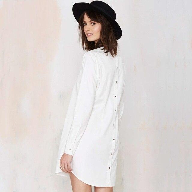 79c39fa797a106 Lente mode nieuwe vrouwen shirt jurk midi lengte eenvoudige witte blouse  jurken casual lange mouw jurk