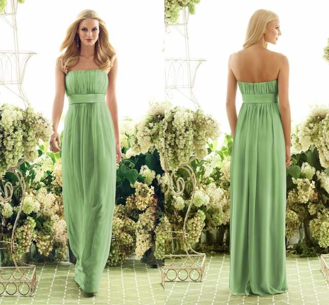 Online Shop Apple Green Bridesmaids Dresses High Quality 2016 New Style Long  Chiffon Maid of honor party Gowns Plus Size bridesmaid dress  11b7f3d30b93