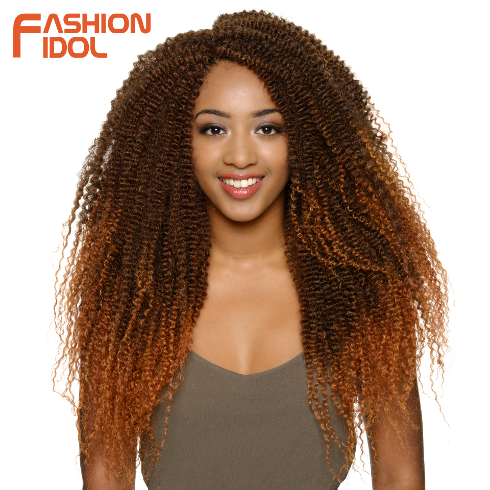 FASHION IDOL Kinky Curly Hair Braid Brown Crochet Braids Hair Synthetic 19 Inch Ombre Braiding Hair Extentions Burgundy 17 Color