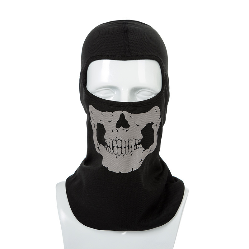 New Ghost Skull Mask CS Balaclava for Military Fans Cycling Face Mask Anti UV Rays Rib Fabric Quick Dry Silk Screen Printing chief sw2104 skull style full face mask for war game cs black