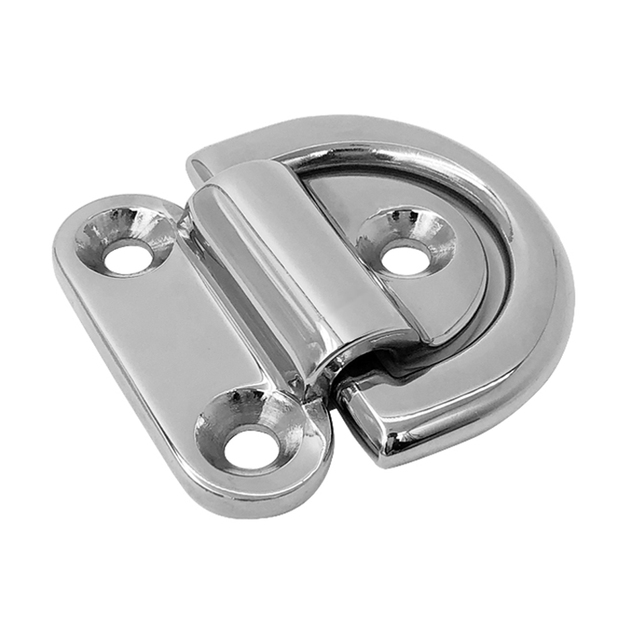 316 stainless steel D ring/ 6mm Folding Pad Eye Deck Lashing Ring Staple Cleat for Trailer Marine Boat