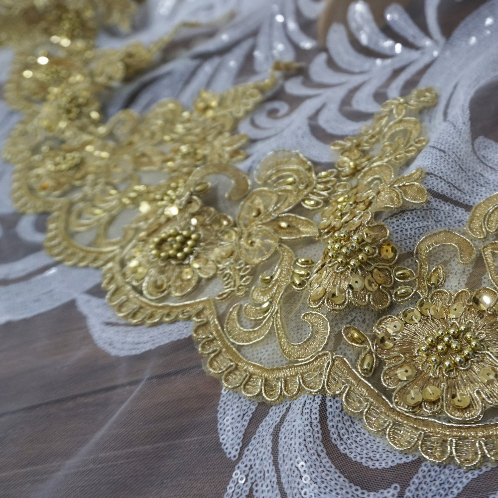 2019 NEW embroidery scallop gold lace trimming for dresses 21cm Width women mantilla lace trim beading lace gold color 5 yards in Lace from Home Garden
