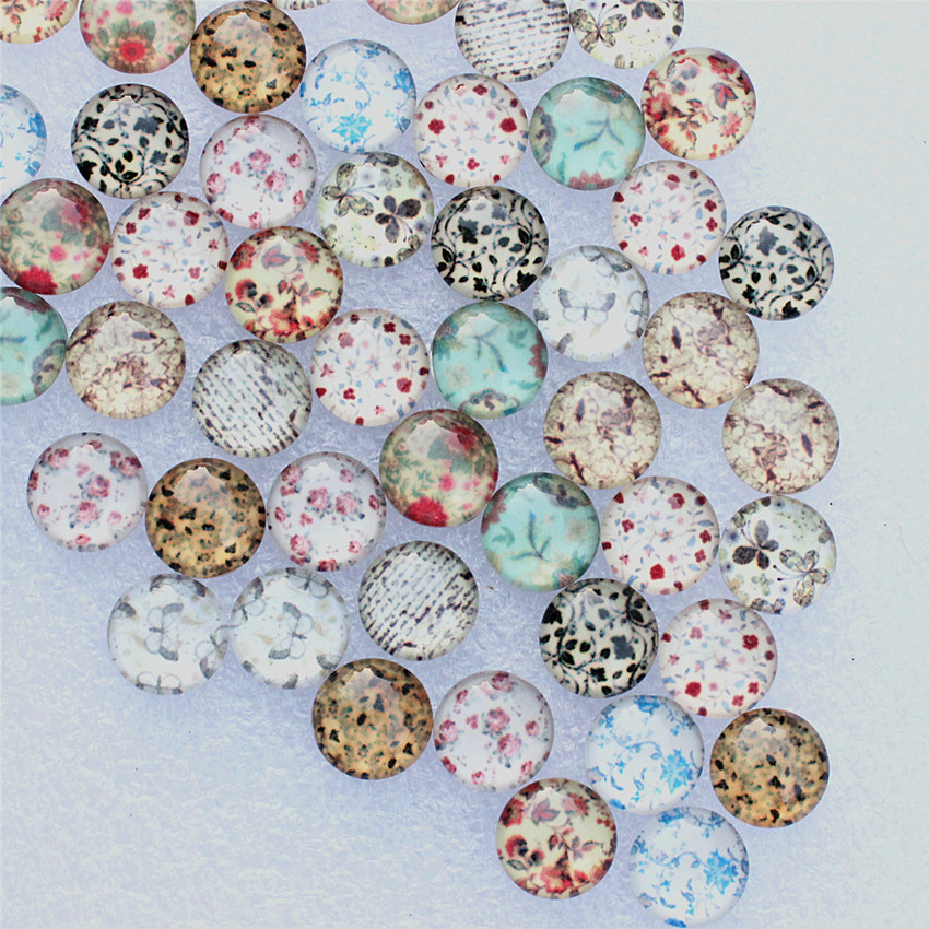 10pcs 20mm Glass China Flower White And Blue Cabochons Embellishment Flatback