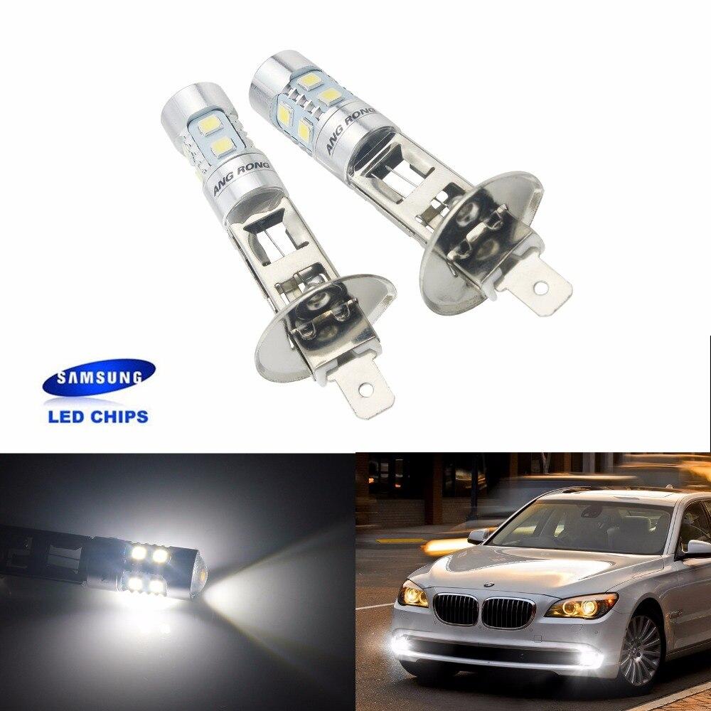 ANGRONG 2pcs H1 Xenon White 10 SMD SAMSUNG LED DRL Driving Fog Beam Headlight Bulb Lamp(CA304)