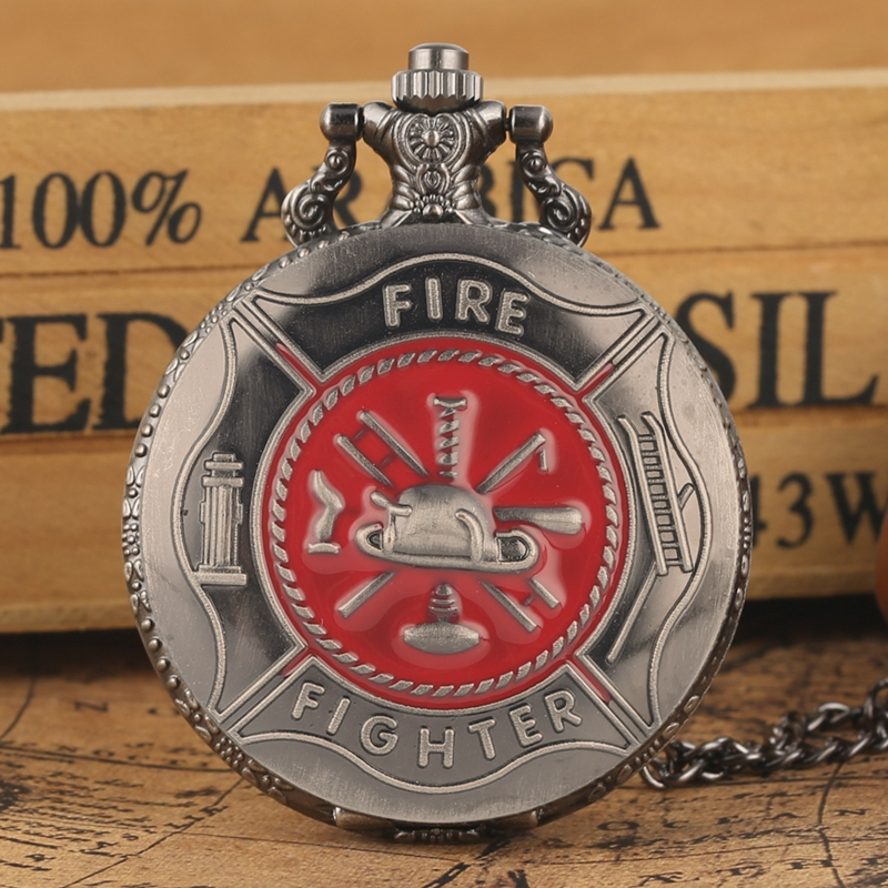 Vintage Gray Red Fire Fighter Symbol Carving Pocket Watch Steampunk Firefighter Quartz Watch Fireman Pendant Gift Necklace Chain